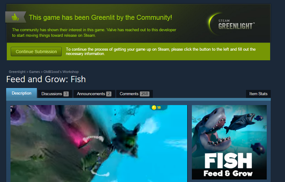 Steam greenlight feed and grow fish for Feed and grow fish online